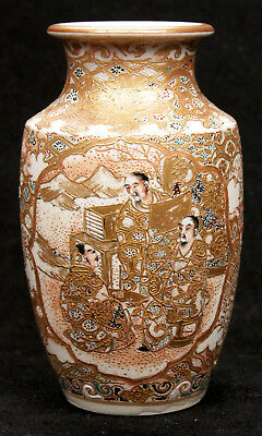 Antique Japanese Meiji Period Satsuma Vase Scholar Asian Earthenware Pottery Old