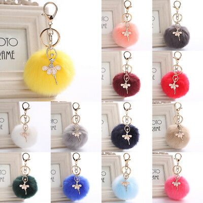Women Lovely Faux Fur Key Ring/Chain Diamond Angel Bag Car Pendant Plush Balls
