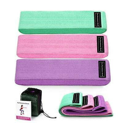 3 Pcs Non-Slip Fabric Resistance Hip Booty Bands Loop Exercise Yoga Fitness Gym