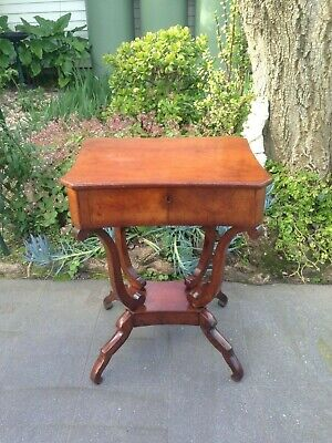 Antique European Mahogany sewing / Lamp / Side Table circa 1870