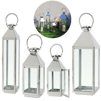 Large Stainless Steel Hurricane Lantern Candle Holder Candlestick with Handle UK
