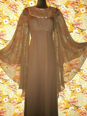 Genuine Vintage 70s Long Brown Polyester Knit Dress with Chiffon Sleeves Size 14