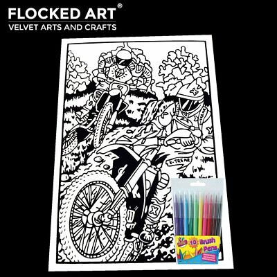 Velvet Colouring Art Race Car Very Large 50cm x 35cm 20 Inches x 14 inches