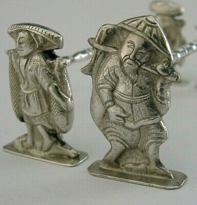 CHINESE EXPORT SILVER CUTLERY RESTS c1900 ANTIQUE