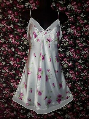 Genuine Vintage 80s White with Rose Floral Polyester Satin Nightie Size 14