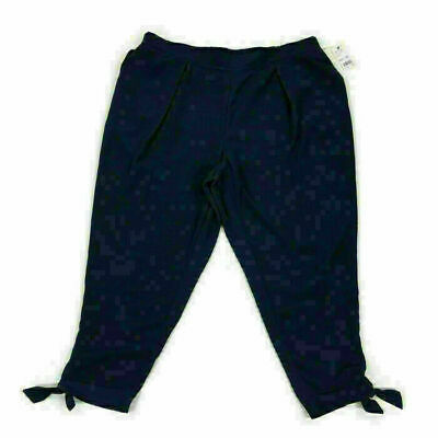 NY Collection Womens Pants Tie Hem Pleated Tapered Blue Plus Size 3XP