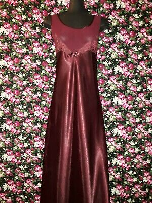 Genuine Vintage 80s-90s Burgundy Polyester Satin Nightie