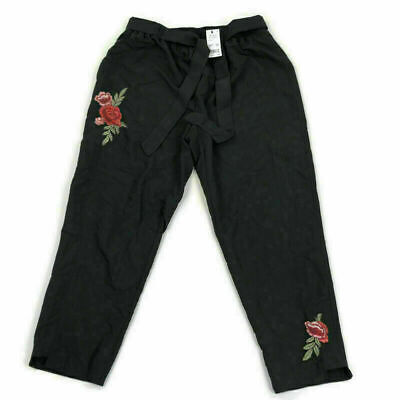 NY Collection Womens Pants Tapered Floral Black Plus Sz 1X