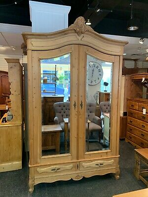 Beautiful Antique Pine French Louis XV Style Wardrobe / Armoire
