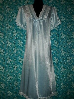 Genuine Vintage 80s Light Blue Nightie Size 14 Novita
