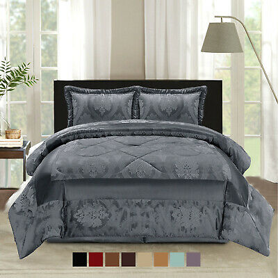 Bedspread Quilted Floral Comforter Bedding Set Throw + 2 Pillow Shams King Size