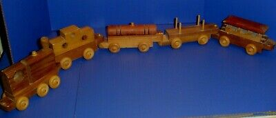 Hand Crafted Wooden Train 5 Piece Set Child's Toy Handmade Genuine Wood W M Gill