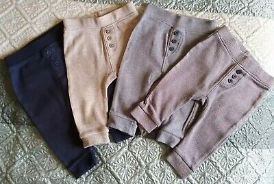 Baby Boys 4 x Cute Bottoms/Trousers with Buttons - Blue Grey - 3-6 Months Bundle