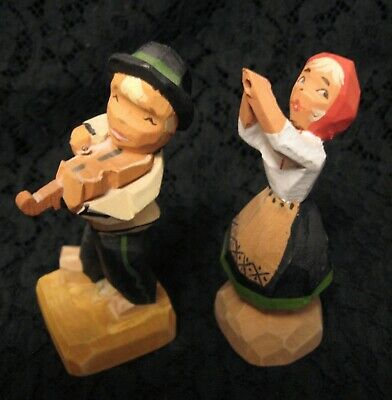 HENNING Hand Carved Painted Wood Sculptures Young Man & Woman Musicians Norway