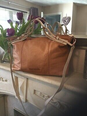 Ted Baker large  tan leather messenger / cross body bag with rose gold lettering