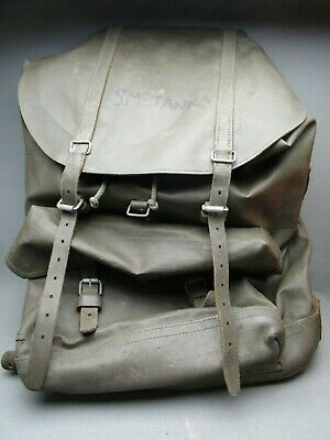 Vintage Swiss Army Military Rucksack Backpack Rubberized Canvas Olive Hiking