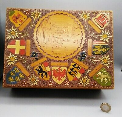 Antique Austrian Painted Carved Poker Work Wooden Treen Box - 9 Town Armorials