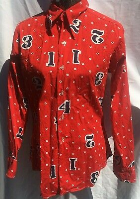 Biandi Cellini Vintage 60's Button Down Shirt Red White Blue Numbers Rockabilly