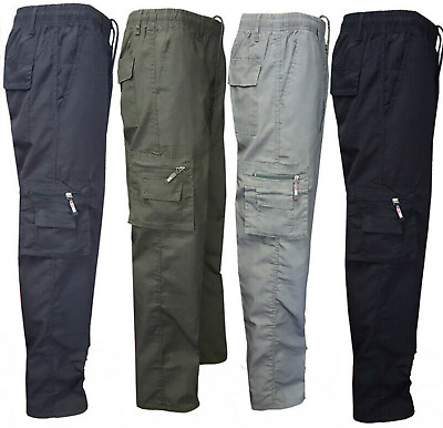 Mens Elasticated Waist Cargo Combat Work Trousers Cotton Casual Bottoms Pants
