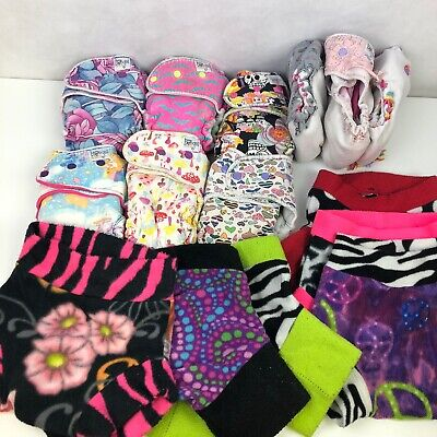15pc Lot Fleece Longies Hybrid Fitted Cloth Diapers Covers Nighttime Boogie Bums