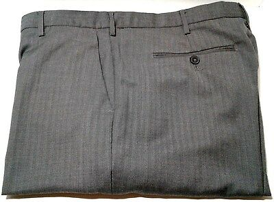 Calvin Klein Dress Pants Men's Sz 36 x 32 Grey Houndstooth Flat Front Slacks
