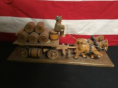 Rare Vintage German Hand Carved Horse Drawn Beer Wagon Original Piece. Nice!
