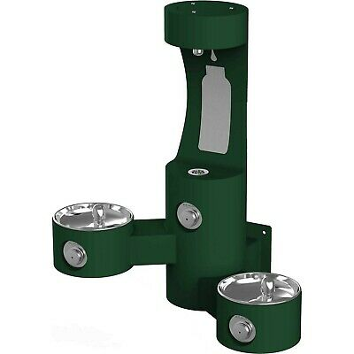 Elkay LK4409BFEVG Wall Mounted Outdoor Bi-Level Drinking Fountain and Bottle ...