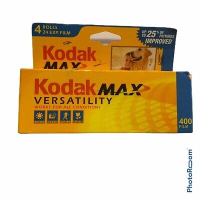 Kodak Max Versatility 400 Color Film 35mm 4 Roll Pack 24 Exposure Sealed Expired