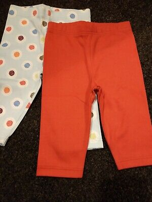 BNWOT M&S funky designer style leggings x2 cherry red and blue spotty dotty 0-3m
