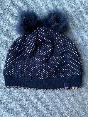 New Ted Baker Girls Navy Sparkle Pompom Winter Hat Size 4-5 Years