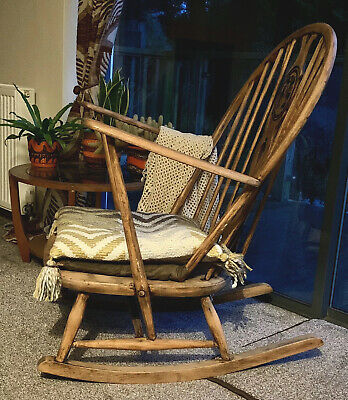 Vintage Ercol Mid Century Grandfather Rocking Windsor Chair