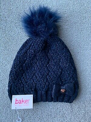 New Ted Baker Girls Navy Sparkle Pompom Winter Hat Size 3-6 Years