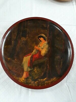 Romanian wood hand painted plate