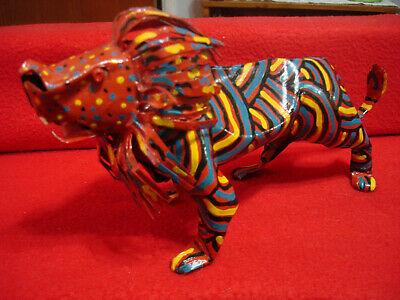 Lion King of the Jungle Colorful Metal Art Sculpture Made in Zimbabwe