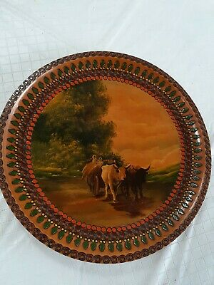 Romanian woodhand painted plate of oxon drawn hay