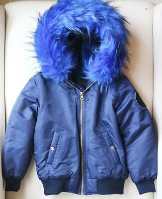 Popski London Kids Girls Faux Fur Lined Bomber Jacket 4 Years