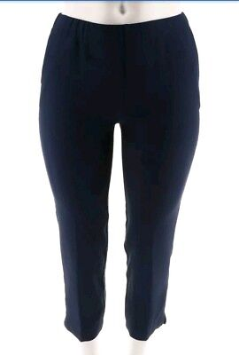 Dennis Basso Womens Textured Pull-On Crop Pants Side Pockets Navy 16