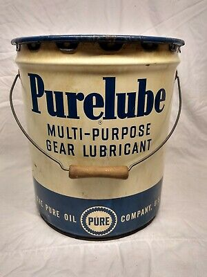 Vintage Pure Oil Co. Purelube 5 Gallon Gear Lube Can Gas Station car truck sign