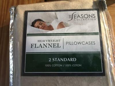 Two Heavyweight Flannel Pillowcases Standard The Seasons Collection Taupe New