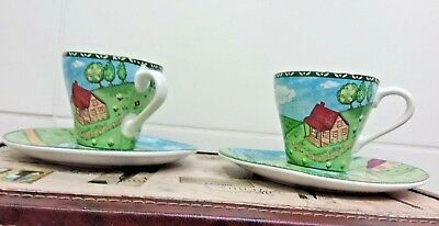 Stoneage Decorative Cup and Saucer By Carleen Gaby Marthas Vineyard theme