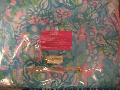 NWT Lilly Pulitzer GWP Drawstring Back Pack Aqua La Vista Free Ship