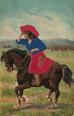 COWGIRL on HORSE EMBOSSED ANTIQUE POSTCARD S. Langsdorf & Co.