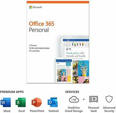 Microsoft Office 365 Personal 1 User 12 Month License Key 2020 Edition PC Mac