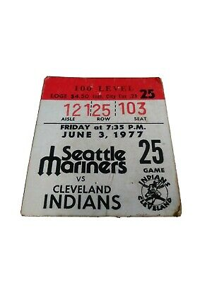 1977 MLB Seattle Mariners vs Cleveland Indians June 3 Ticket stub Kingdome Eck W