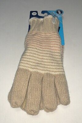 New Isotoner Signature Womens Tan Ivory Striped Touchscreen Gloves