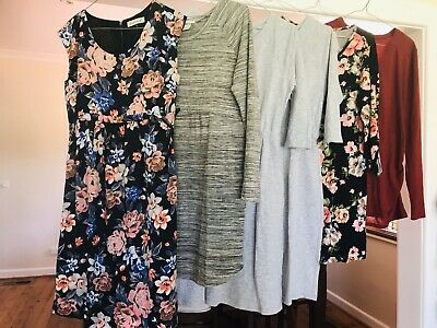 Bundle Lot Maternity Clothes Fit Size 10/12 Dresses/Tops Jeanswest, Angel, H&M