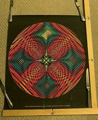 Vintage 1968 WesPac Visual W24 RHYTHM Nancy Parker BLACKLIGHT POSTER Psychedelic