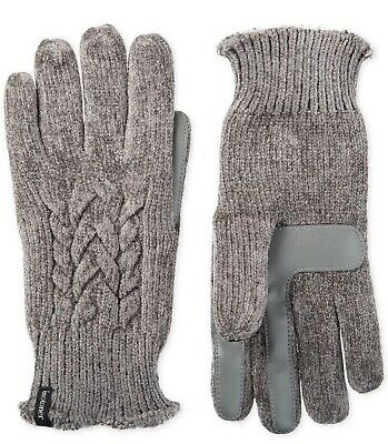 Isotoner Women's Touchscreen Chenille Cable-Knit Gloves Gray One Size