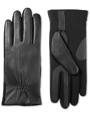 Isotoner Women Touchscreen Wool & Spandex Gloves w/ Faux Fur, Black, S/M
