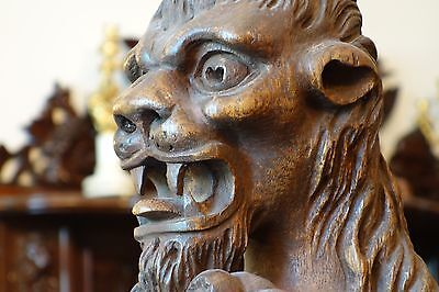 17C PAIR English Gothic Fantasy Carved Oak Royal Crown Mythical Gargoyle/Lions